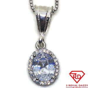 small oval Cubic Zirconia Pendant white gold